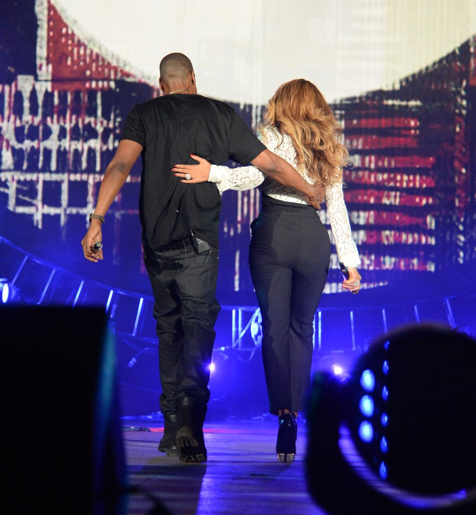 """Beyoncé and Jay Z reunited on stage on Saturday when they linked up to perform at the 2014 Global Citizen Festival in NYC. While Jay was already slated to take the stage at the music event, which was organised to fight extreme poverty, he surprised the audience when he brought out his wife to perform """"Holy Grail."""" The pair's performance came just a few weeks after they wrapped up their joint """"On the Run"""" tour, which finished with a performance in Paris that was televised on HBO. Throughout the Summer, the superstar couple has been battling intense breakup rumours, so it was fitting that the pair took the stage again in the Big Apple to perform Jay's hit (which he originally sang with Justin Timberlake) about the drawbacks of being in the public eye. Keep reading to see Jay and Bey's performance, and catch pictures from their big night."""