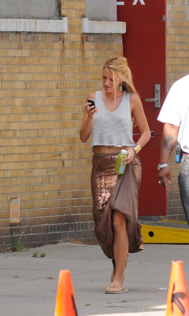 Blake sported a sequined Haute Hippie skirt on the way to set.