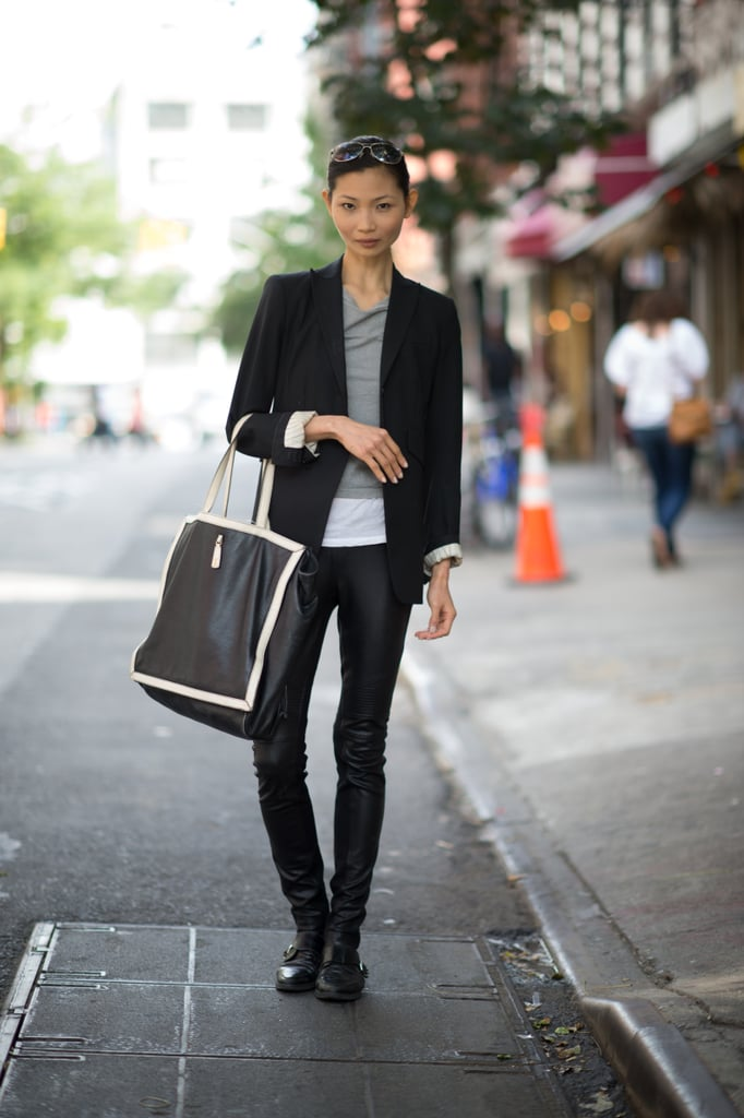 Say hello to your sleek side with a pair of leather pants, an ultraluxe tote, and a slick blazer.