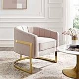 Dempster Tufted Velvet Accent Barrel Chair