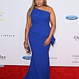 Mindy made a jaw-dropping appearance in a bright blue Elizabeth Kennedy at the Grace Awards in May 2016.