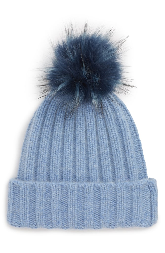 Cashmere Beanie With Faux Fur Pom  1d9b60eaada