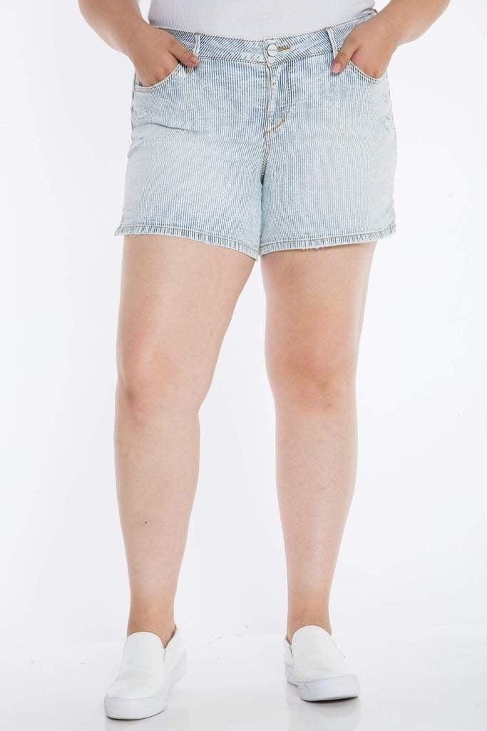Slink Jeans Side Vent Short in Denim Stripes