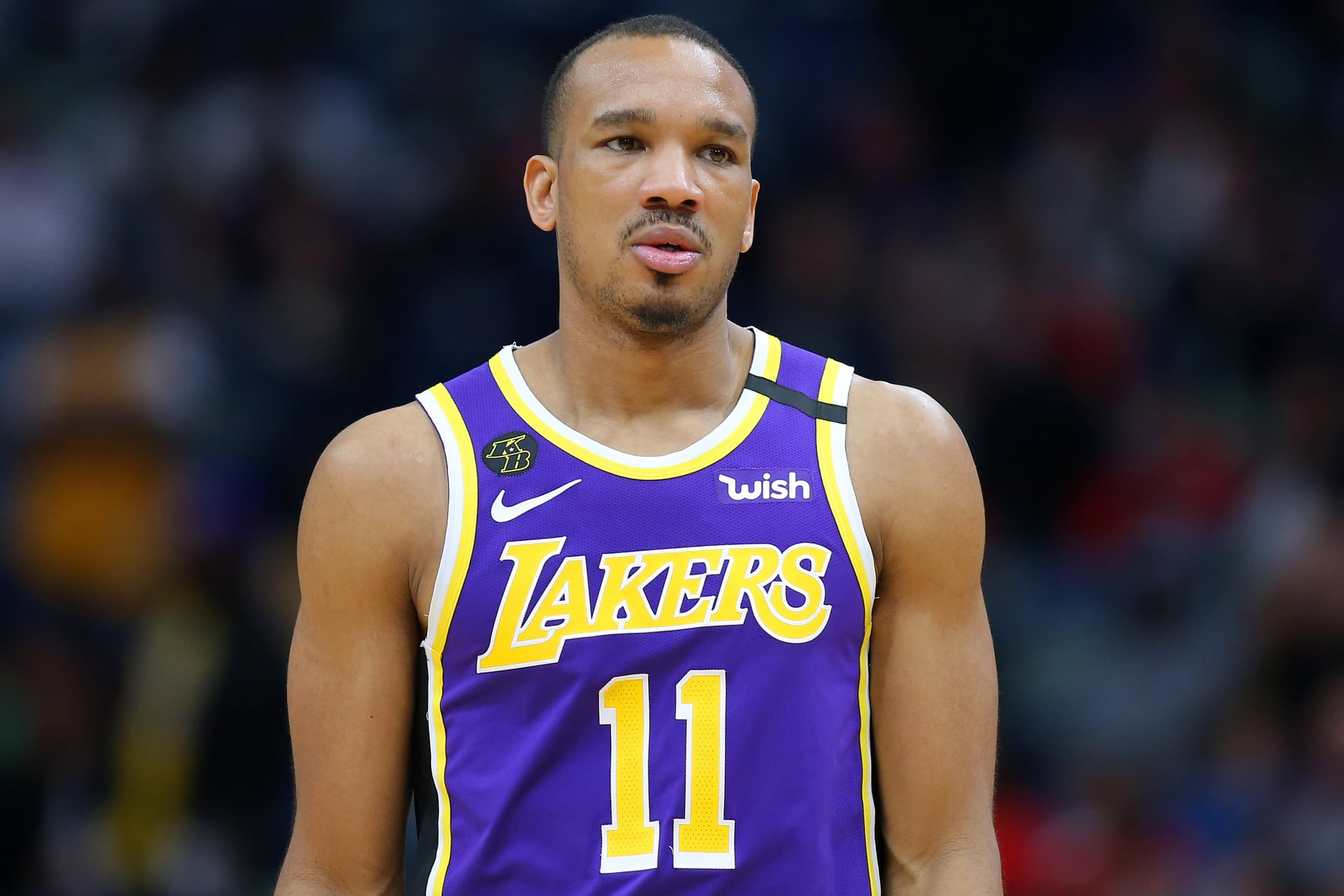 NEW ORLEANS, LOUISIANA - MARCH 01: Avery Bradley #11 of the Los Angeles Lakers reacts against the New Orleans Pelicans during the second half at the Smoothie King Centre on March 01, 2020 in New Orleans, Louisiana. NOTE TO USER: User expressly acknowledges and agrees that, by downloading and or using this Photograph, user is consenting to the terms and conditions of the Getty Images Licence Agreement. (Photo by Jonathan Bachman/Getty Images)