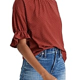 Madewell Texture & Thread Clip Dot Ruffle Top