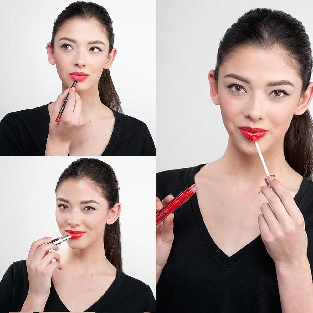 First, line your entire lips with a red lip liner. Using a formula that's rich in moisture will keep your lips hydrated. Next, apply a color-rich, long-lasting lipstick, and top it off with a lustrous lip gloss. You can dab the gloss on just the center of your bottom lip to add a touch of shine to your pout, or apply it all around for maximum impact.
