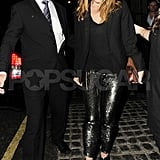 Stella McCartney in sequined pants leaving London's The Cow pub following her second 40th birthday party.