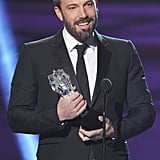 Ben Affleck was all smiles on stage at the Critics' Choice Awards after his win.