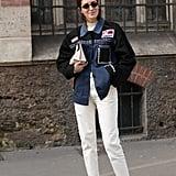 An Embellished Denim Jacket, White Jeans, and Feminine Heels