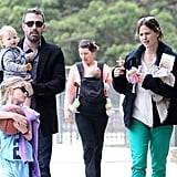 Ben Affleck and Jennifer Garner took their kids to a playground on St. Patrick's Day.
