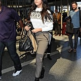 Selena Gomez touched down at LAX on Monday following her chic tea party with Taylor Swift over the weekend.