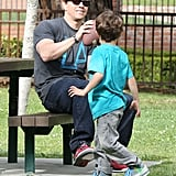 Mark Wahlberg tossed around a football with his son.