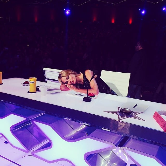Heidi Klum took a nap on the America's Got Talent table after a long day at work. Source: Instagram user heidiklum