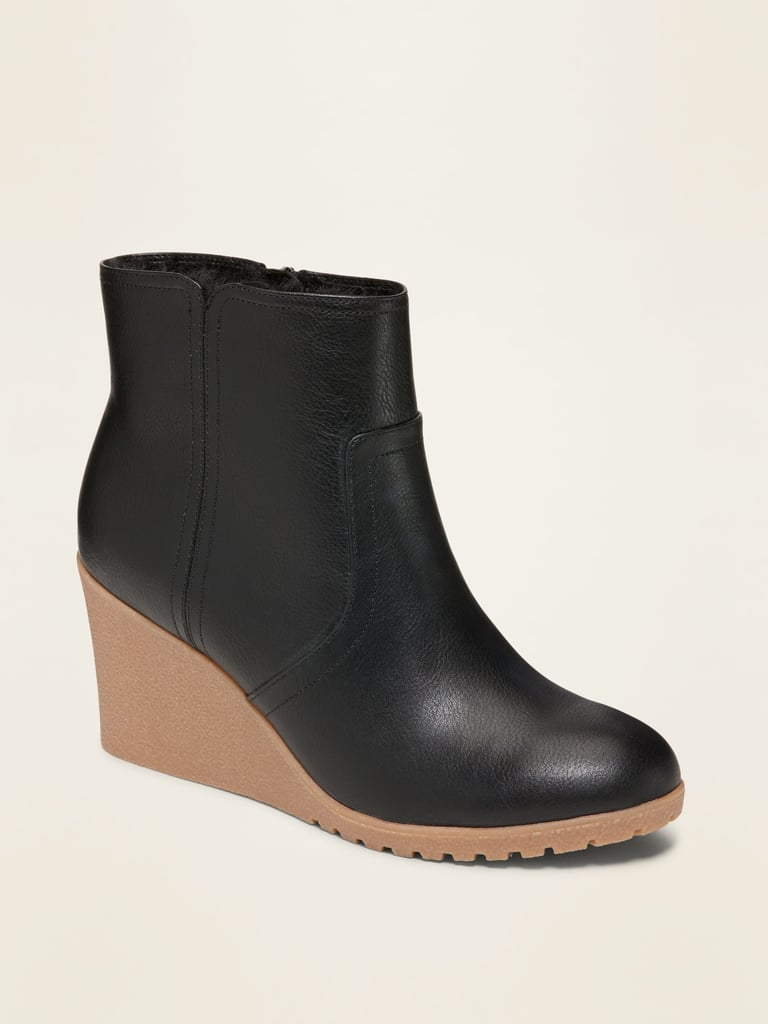 Old Navy Faux-Leather Wedge Booties