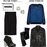 You can absolutely wear your pencil skirt — don't let the chill stop you. Instead, be prepared with tights underneath and two cozy layers on top. Start with a festive jacquard or embellished sweatshirt up top and bundle up with a cool-girl leather jacket for contrast. If you fear being underdressed, just add in more sparkle with a pair of jeweled earrings or go for even more shimmer with a statement necklace.  Get the look:  Topshop metallic grab-through clutch ($120) Auden crystal stud earrings ($138) Zara pencil skirt ($60) Loeffler Randall Dagmar lace-up boots ($315, originally $450) J.Crew Delphinium crystal-embellished jacquard sweatshirt ($375) Maje Diferenti leather jacket ($602, originally $860) Ralph Lauren opaque control-top tights ($18)