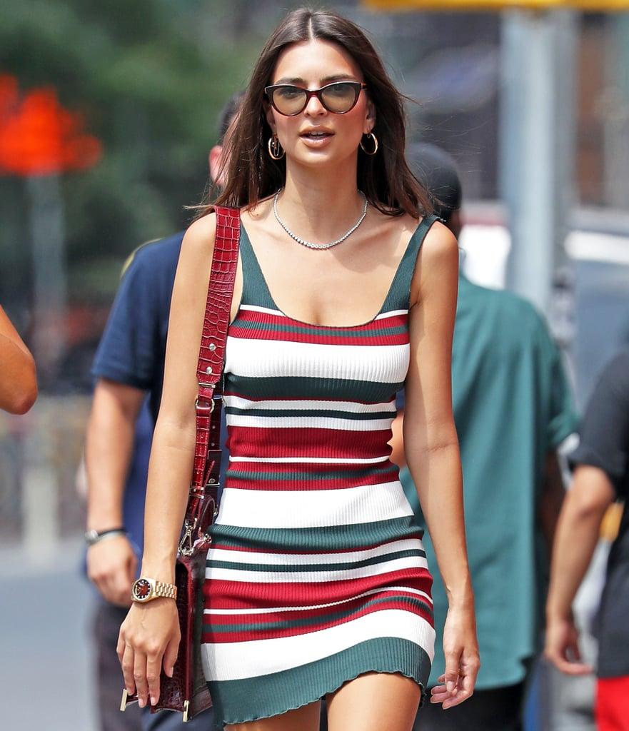 5536f10a57c Emily Ratajkowski s Striped Dress in NYC July 2018