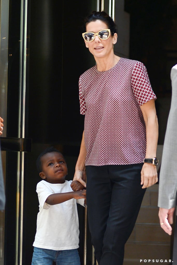 Sandra Bullock left her NYC hotel on Monday with her son, Louis Bardo.