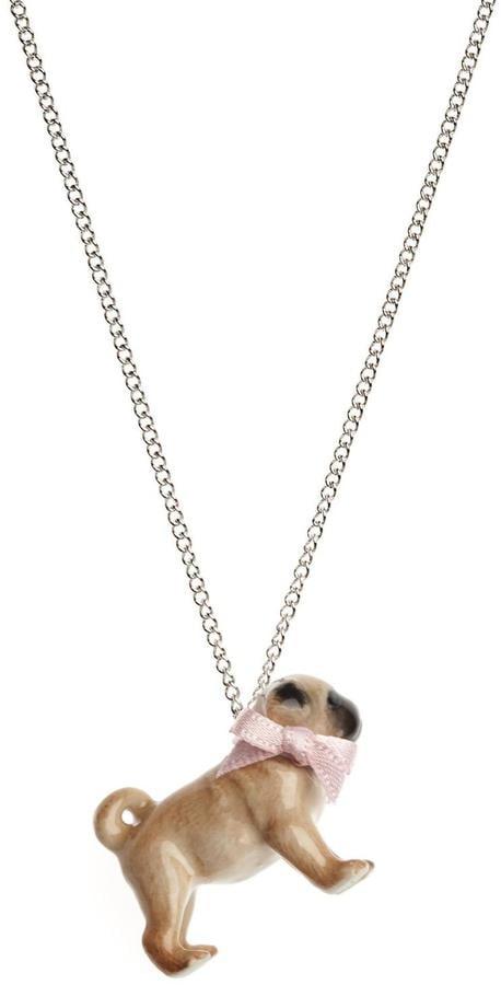 Pink Poodle Boutique Porcelain Pug Necklace ($57)