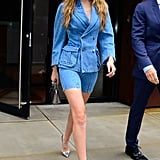 Gigi Styled Her Denim Shorts Suit With Silver Christian Louboutin Heels