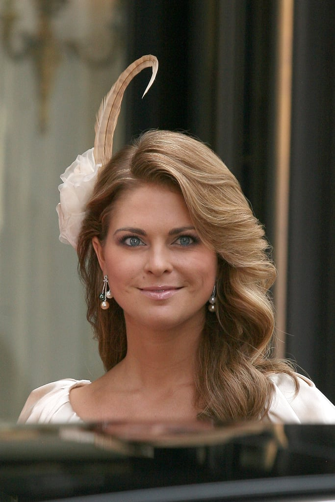 At Prince Albert of Monaco's wedding in 2011, Princess Madeleine of Sweden wore a blush, rose-shaped headpiece.