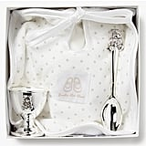English Trousseau Silver-Plated Egg Cup and Spoon with Bib