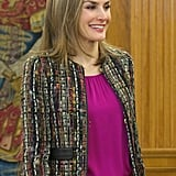 She was all smiles while meeting with people at Zarzuela Palace in January.