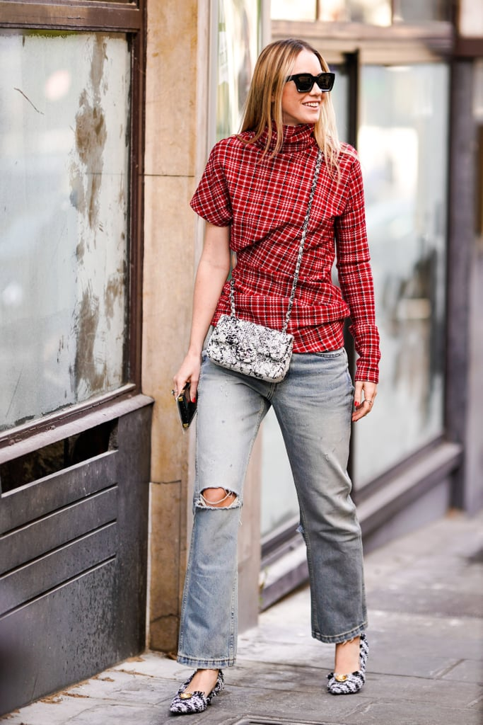 Give your jeans the fashion-girl treatment with an asymmetrical top