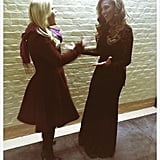 Inauguration performers Kelly Clarkson and Beyoncé chatted backstage. Source: Twitter user kelly_clarkson
