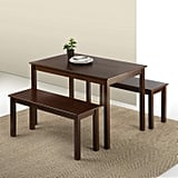 Zinus Juliet Espresso Wood Dining Table with Two Benches