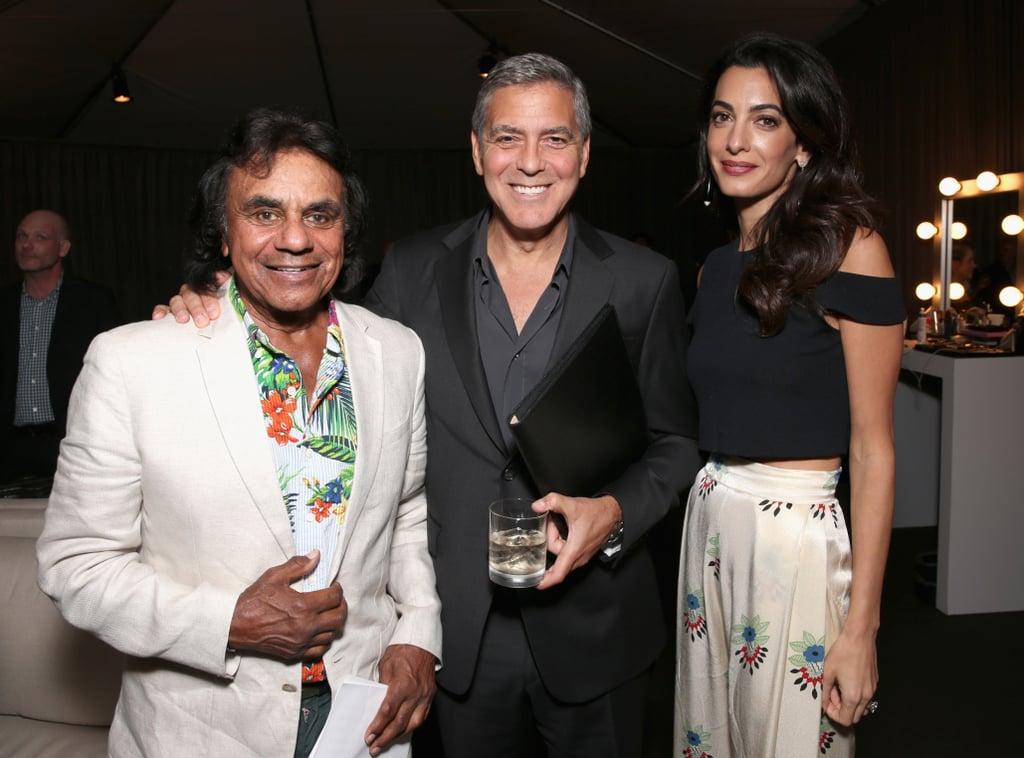 Amal Clooney White Floral Pants October 2016