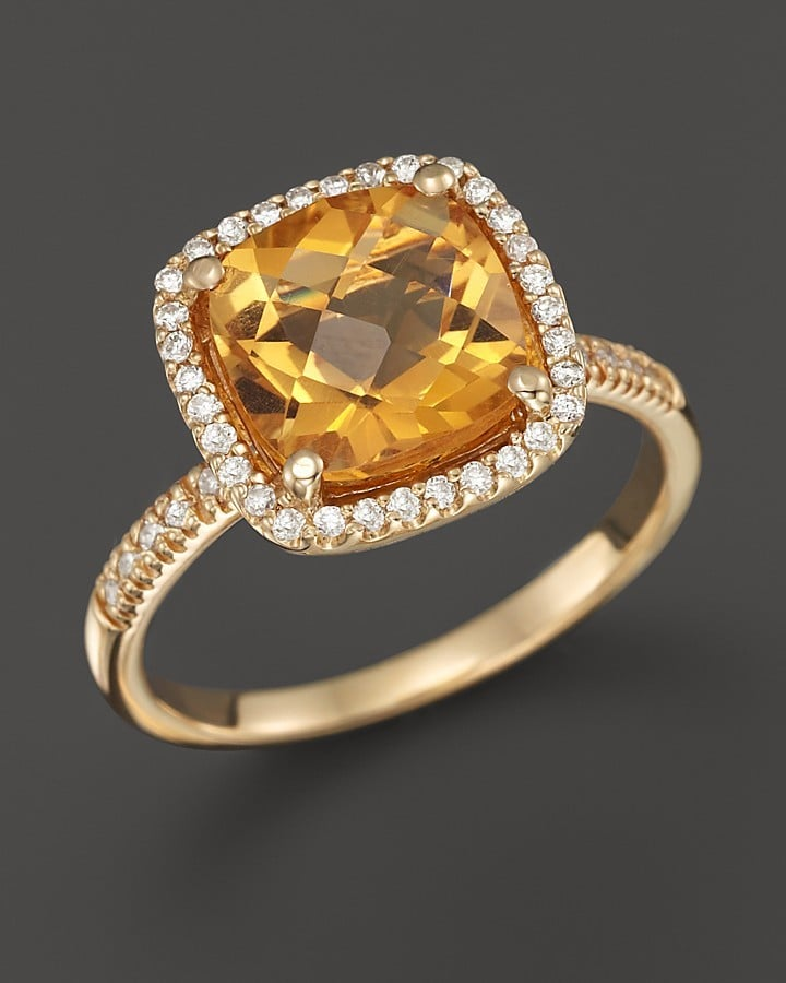 Bloomingdales Citrine and Diamond Cushion Cut Ring in 14K Yellow