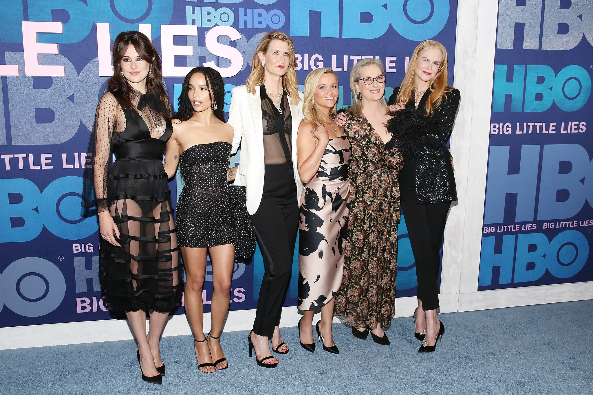 NEW YORK, NEW YORK - MAY 29: (L-R) Shailene Woodley, Zoe Kravitz, Laura Dern, Reese Witherspoon, Meryl Streep and Nicole Kidman attend the