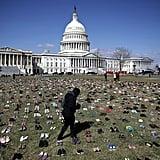 Gun-Violence Protestors Leave Shoes Outside US Capitol