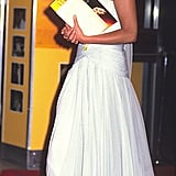 Princess Diana stunned in a white dress for a premiere in 1991.