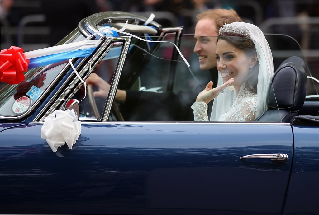 The couple drove from Buckingham Palace to Clarence House in a vintage Aston Martin following their April 2011 wedding.