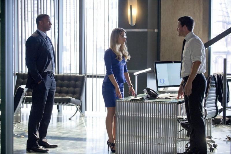 Arrow David Ramsey, Emily Bett Rickards, and Stephen Amell on Arrow.