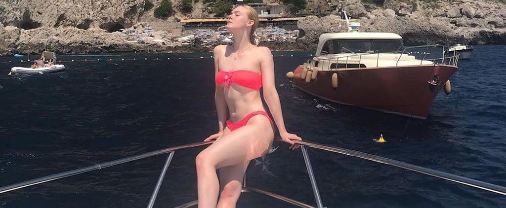 Elle Fanning Pink Bikini Instagram