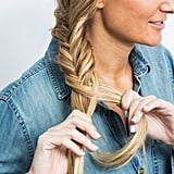 Place that piece over the braid to combine with the larger left section. Finish off the braid with a clear elastic at the ends.