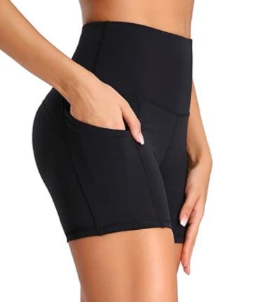 """Oalka Women's High Waist Workout Shorts 4"""""""