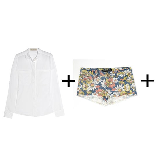Rosie's look is a cinch to copy for your next festival because printed denim shorts are a dime-a-dozen. If you're going to unbutton the shirt as low as Rosie, be sure to keep your bra simple. The lace triangle style is best. Shirt, approx $160 at The Outnet, shorts, $52.49 at Surf Stitch