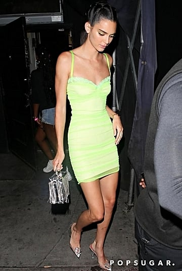Kendall Jenner Green Dress in NYC August 2019
