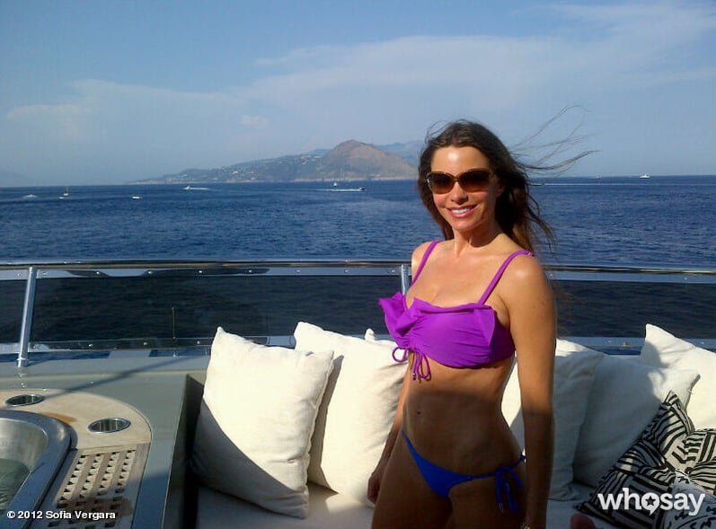 Sofia showed off her bikini body and an amazing view while vacationing in Capri, Italy, in July 2012.  Source: Who Say user Sofia Vergara