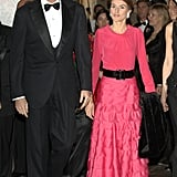 The Same Tiered Skirt With a Silk Long-Sleeved Top