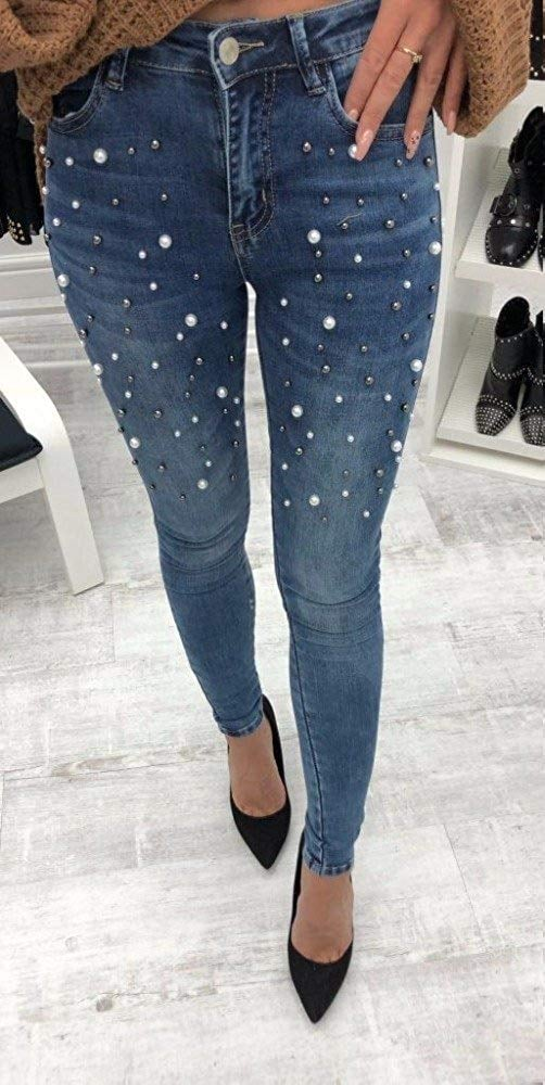 Classic High-Waist Slimming Pearl Jeggings Skinny Jeans