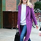 A Long Coat in a Very Playful Colour Just Looks Cool With the Right Shoes