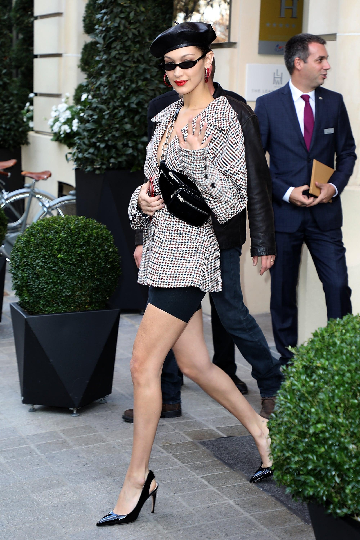 Bella Hadid Wearing Blazer And Biker Shorts In Paris Popsugar Fashion