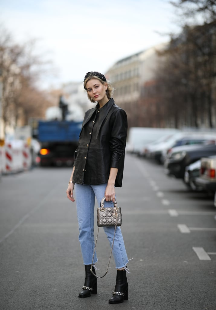 Style pared down denim with a leather button-down and standout accessories