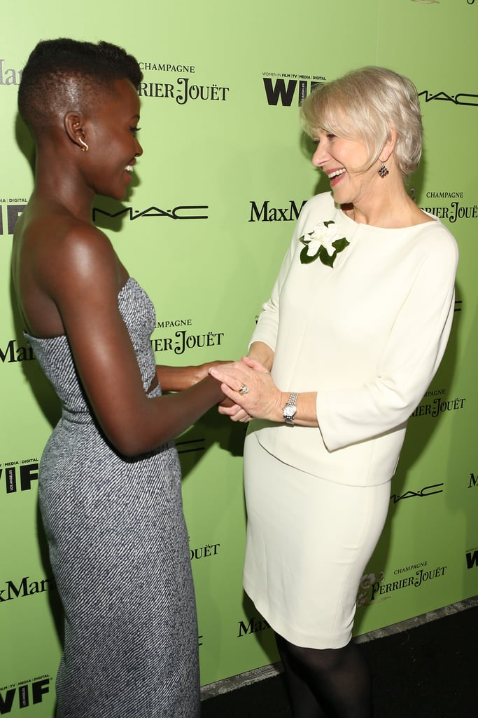 Lupita Nyong'o and Helen Mirren shared a sweet moment at the Women in Film pre-Oscar cocktail party on Friday.
