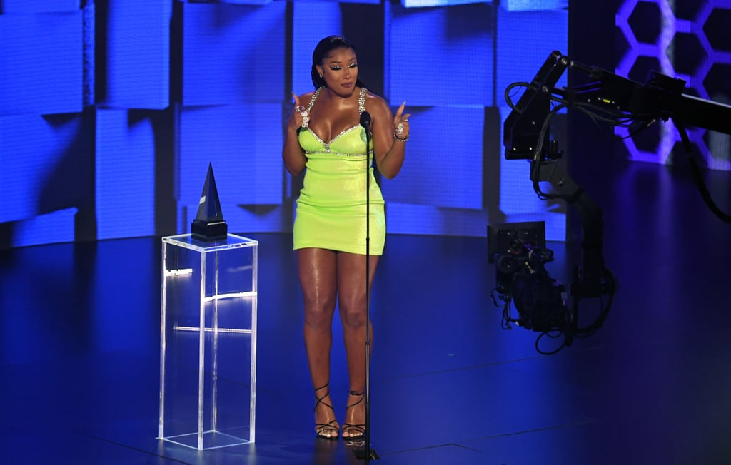 Megan Thee Stallion's Lime Green Area Minidress at the AMAs