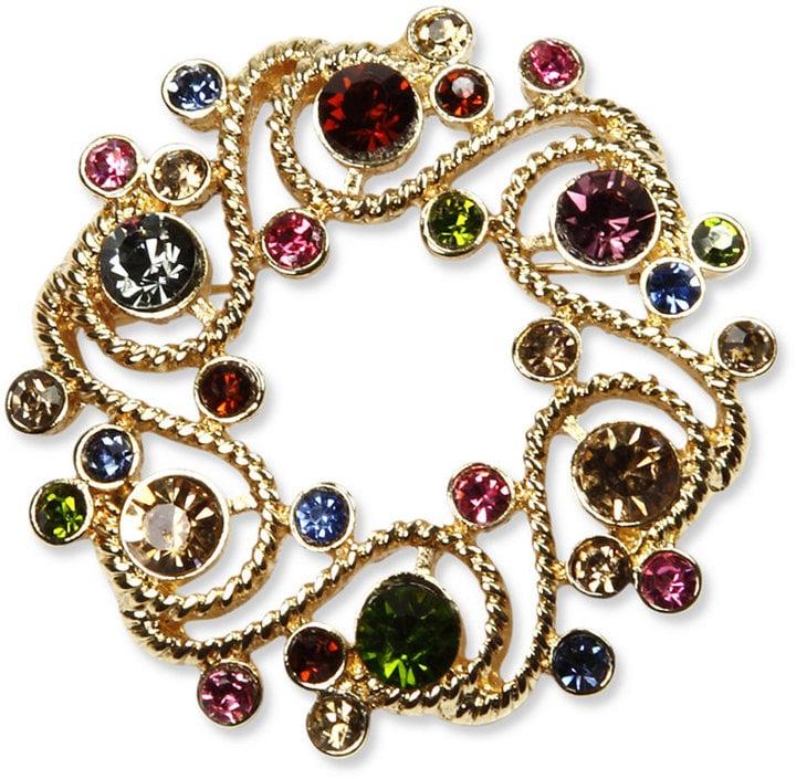 Jones New York Multi-Color Stone Wreath Pin Box Brooch